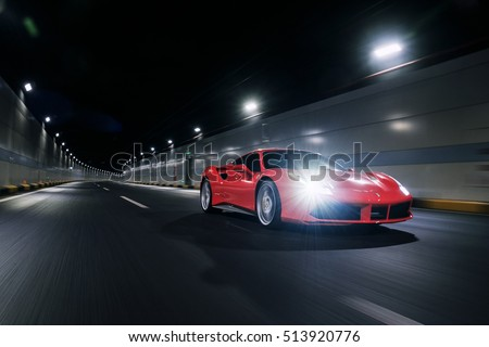 TIANJIN, CHINA - FEB 27, 2016: Ferrari 488GTB is an Italian sports car produced since 2015, powered by a 3.9-litre twin-turbocharged V8.