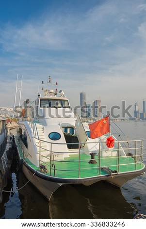 TIANJIN , CHINA - October 31, 2015: Ferryboats is at dock at Tianjin the bun garden.