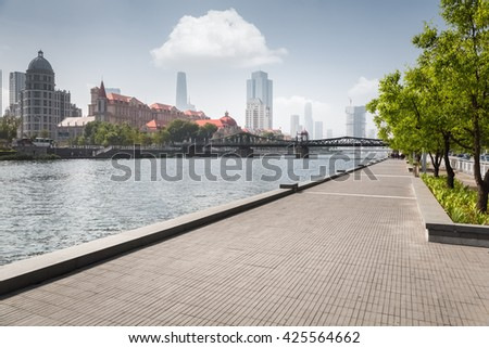 tianjin cityscape, beauty riverside of the haihe river