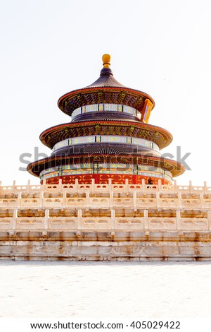 Tiantan Pagoda at the Hall of Prayer for Good Harvests of the  Temple of Heaven, an Imperial Sacrificial Altar in Beijing. UNESCO World Heritage - stock photo