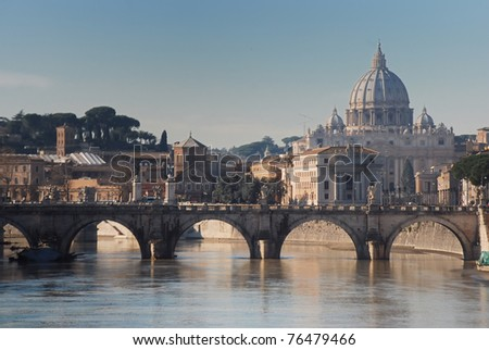 Tiber and St Peter Basilica - stock photo