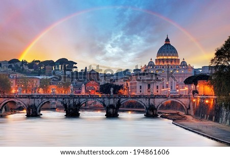 Tiber and St Peter Basilica in Vatican with rainbow, Roma - stock photo