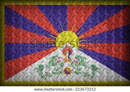 Tibet flag pattern on the diamond metal plate texture ,vintage style - stock photo