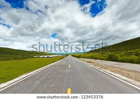 Tibet highway - stock photo