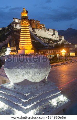 Tibet in the evening, the beautiful Potala Palace. - stock photo