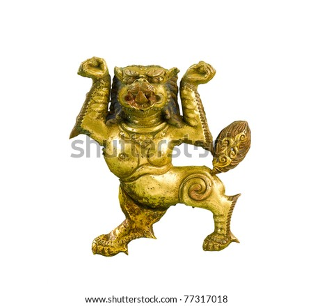 Tibet lion brass sculpture  telling about believe and philosophy in Buddhism religion through the fine art