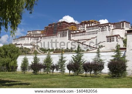 tibet Potala Palace and grassland - stock photo