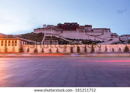 Tibet's Potala Palace at night - stock photo