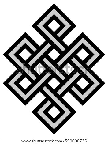 Tibetan Eternity Knot Ancient Mystic Religious Stock Illustration