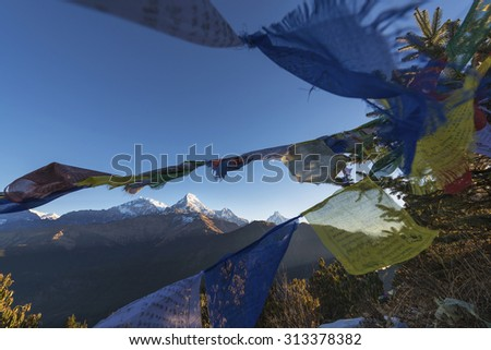 Tibetan Flags and Annapurna from Poon Hill , Nepal