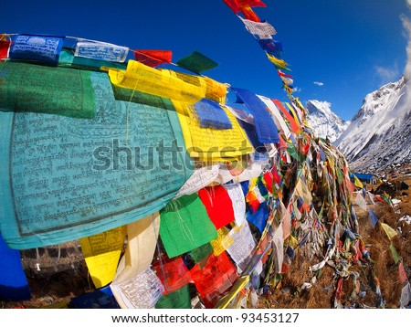 Tibetan Flags at Annapurna Base Camp 4200m (Himalaya, Nepal)