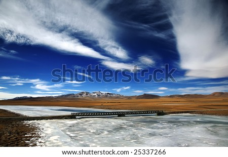 Tibetan landscape - stock photo