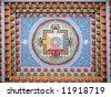 Tibetan mandala painting on monestery ceiling, Upper Pisang, Nepal - stock photo