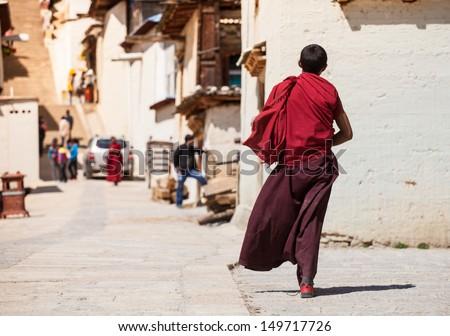 Tibetan monk - stock photo