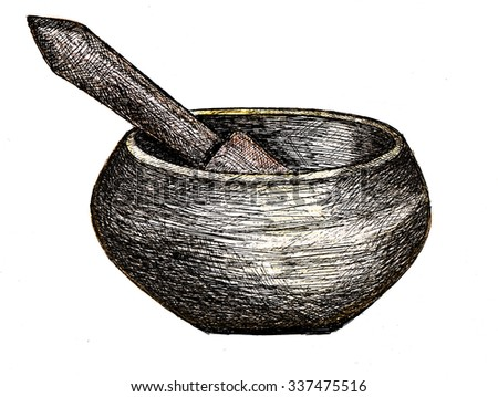 Tibetan singing bowl, ink drawing and colored pencils - stock photo