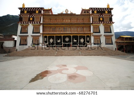 Tibetan temple, in the Tibetan mountains of China - stock photo