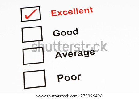 Tick Excellent for performance checklist - stock photo