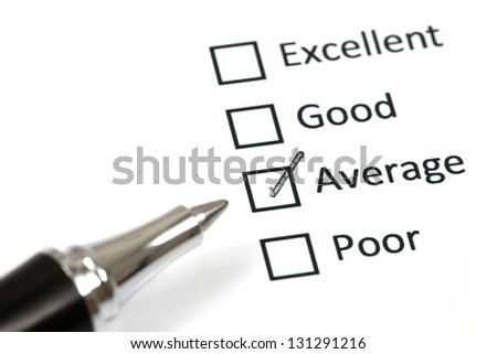 Tick placed in average checkbox - stock photo