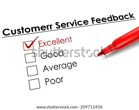 tick placed in excellent check box with red pen over customer service feedback