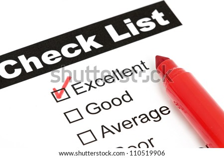 Tick placed in excellent checkbox on customer isolated - stock photo