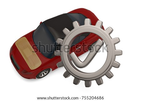 Tick with gear and car on white background. 3D illustration.