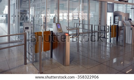ticket checkpoint at the airport - stock photo