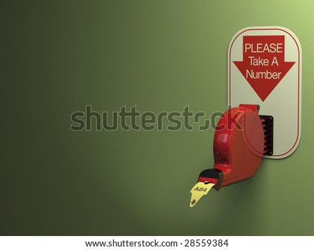 Ticket dispenser on dull green background with copy space. - stock photo