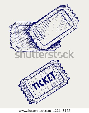 Ticket. Doodle style. Raster version - stock photo