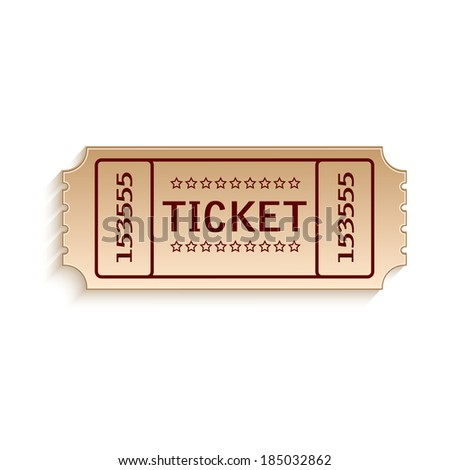 Ticket out of cardboard on white background