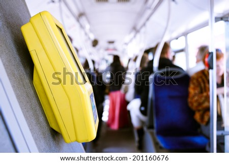 ticket punch in the bus - stock photo
