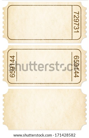 Ticket set. Paper ticket stubs isolated on white with clipping path included. - stock photo