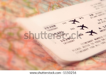 ticket to travel - stock photo