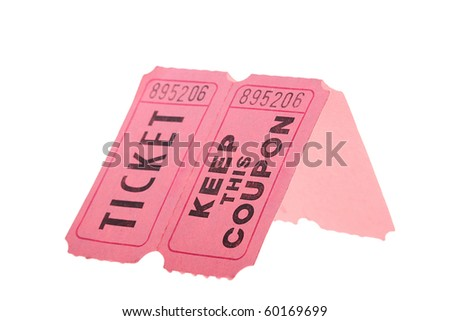 Tickets and coupon for a pink cardboard for visiting of show, concerts etc. - stock photo