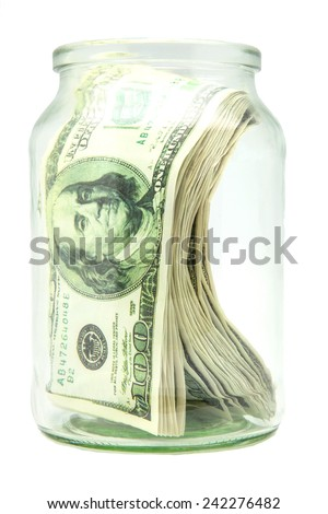 tickets for hundred dollars in one crystal pot  - stock photo