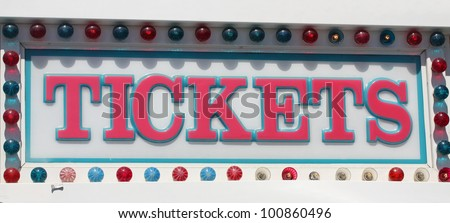Tickets sign at the amusement park - stock photo