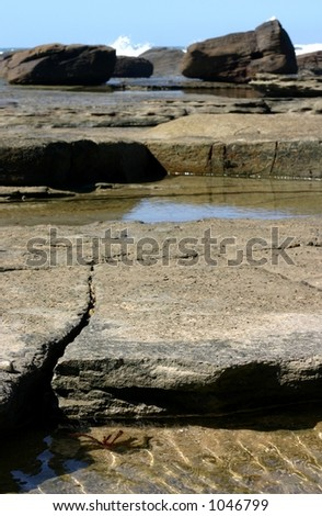tidal pools amongst rocks at beach
