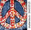 tie-dye peace symbol - stock photo