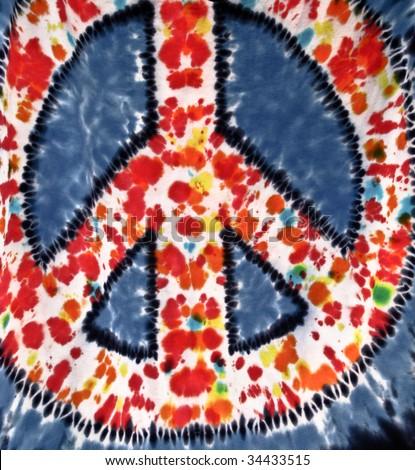 tie-dye peace symbol - stock photo