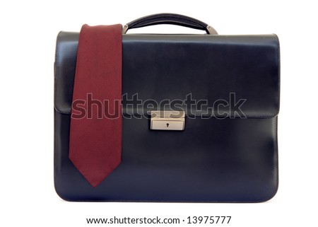 tie on black leather business briefcase isolated on white background