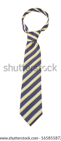 Tie with a colorful striped.  Isolated on white background - stock photo