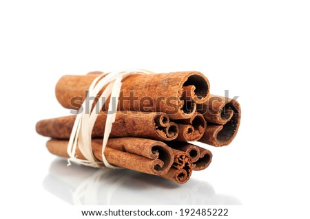 Tied cinnamon sticks isolated on white background