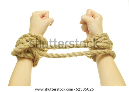 tied hands - stock photo