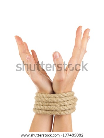 Tied hands, isolated  white - stock photo