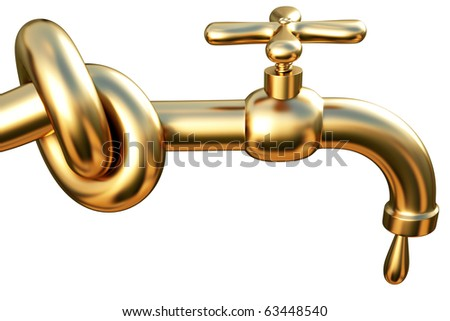 tied in a knot golden tap. a drop of gold flowing from the tap. isolated on white. - stock photo