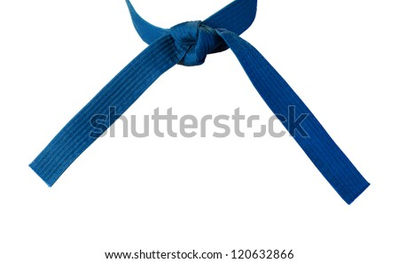 Tied Karate blue belt closeup isolated on white background - stock photo