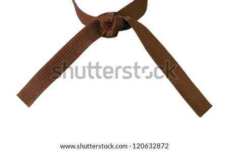 Tied Karate brown belt closeup isolated on white background