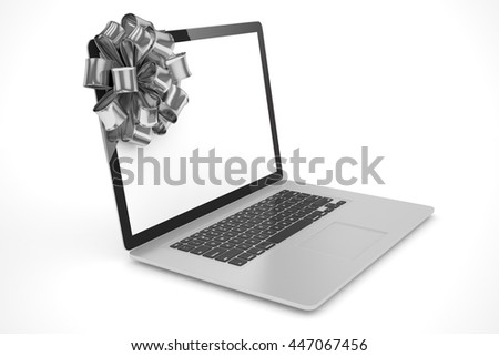 Tied laptop with silver bow on white background. Modern present or gift for birthday, holiday, christmas. 3D rendering.