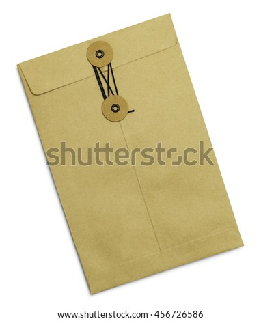 Tied Sealed Brown Letter Envelope Isolated on White Background.