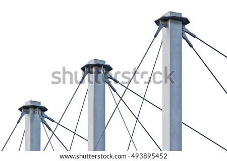 Tied Suspension Roof Cables, Three Tall Grey Isolated Masts, Cable-suspended Swooping Rooftop Pylon Anchors, Large Detailed Horizontal Closeup, Contemporary Construction Concept