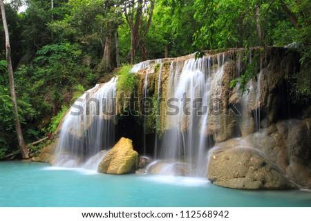 Tier 2 of Erawan Waterfall in Kanchanaburi Province, Thailand - stock photo